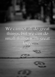 We cannot all do great things but we can do small things with great love